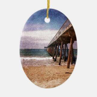 California Pacific Ocean Pier Ceramic Oval Decoration