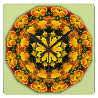 California Poppies 02.2, Flower-Mandala Square Wall Clock