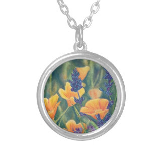 California Poppies and Lupin Silver Plated Necklace