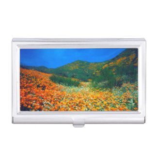California Poppies and Popcorn wildflowers Business Card Holder