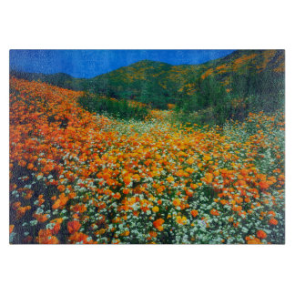 California Poppies and Popcorn wildflowers Cutting Board