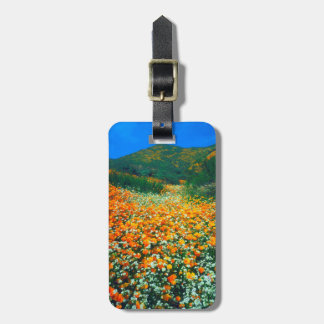 California Poppies and Popcorn wildflowers Luggage Tag