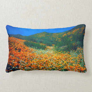 California Poppies and Popcorn wildflowers Lumbar Pillow