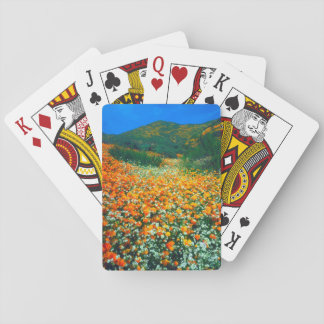 California Poppies and Popcorn wildflowers Playing Cards
