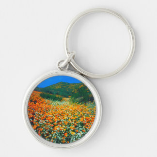 California Poppies and Popcorn wildflowers Silver-Colored Round Key Ring