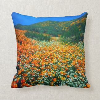 California Poppies and Popcorn wildflowers Throw Pillow