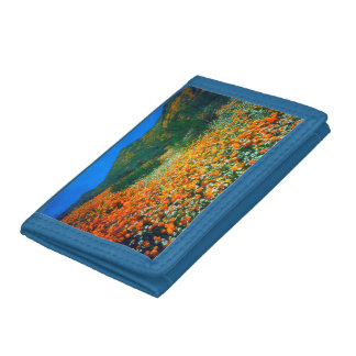 California Poppies and Popcorn wildflowers Trifold Wallets