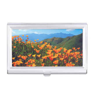 California poppies covering a hillside business card cases