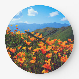 California poppies covering a hillside large clock