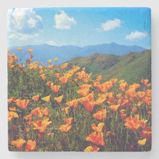 California poppies covering a hillside stone coaster