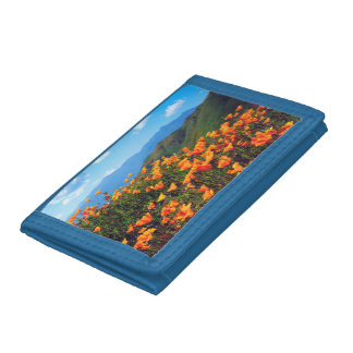 California poppies covering a hillside tri-fold wallets