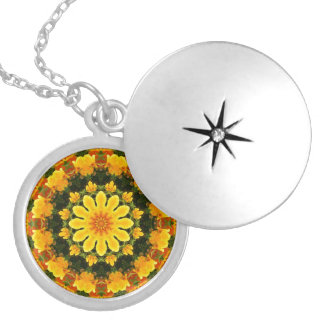 California Poppies, Flower-Mandala Locket Necklace
