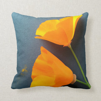 California poppies on blue background cushion