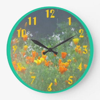 California Poppies Wall Clocks