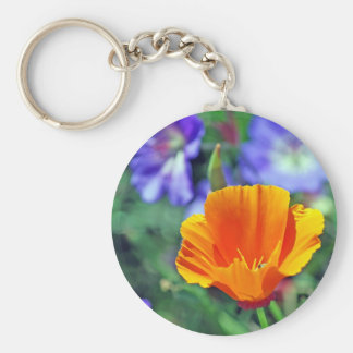 California Poppy and Purple Blooms Basic Round Button Key Ring