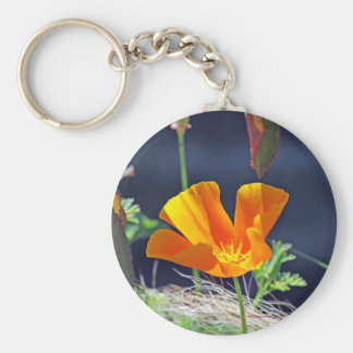 California Poppy Basic Round Button Key Ring