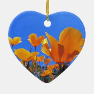 California Poppy Ceramic Heart Decoration