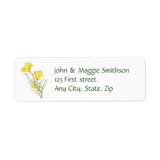 California Poppy Garden Flower Custom Label