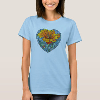 California Poppy Heart T-Shirt
