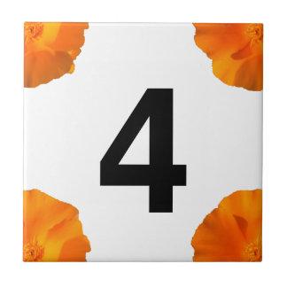 California poppy House Number Tile