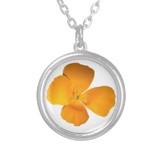 California Poppy Silver Plated Necklace