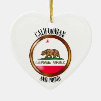California Proud Flag Button Ceramic Heart Decoration