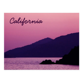 California purple mountain sunset postcard