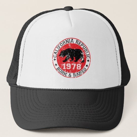 California republic born raised 1970 trucker hat