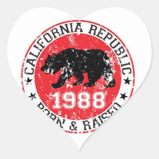California Republic born raised 1988 Heart Sticker