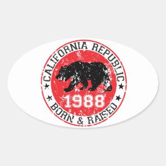 California Republic born raised 1988 Oval Sticker