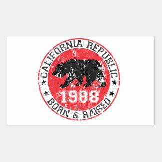 California Republic born raised 1988 Rectangular Sticker