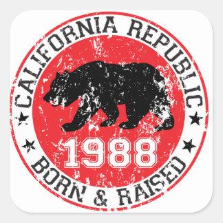 California Republic born raised 1988 Square Sticker