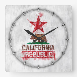California Republic Flag Bear in Paint Style Decor Square Wall Clock
