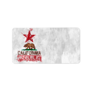 California Republic Flag Bear in Painterly Style Label