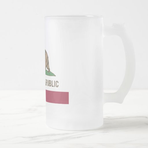 California Republic Flag - Colour Frosted Glass Mug