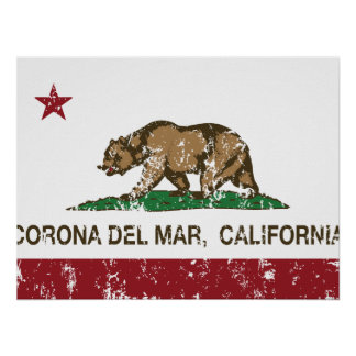 California Republic Flag Corona Del Mar Poster
