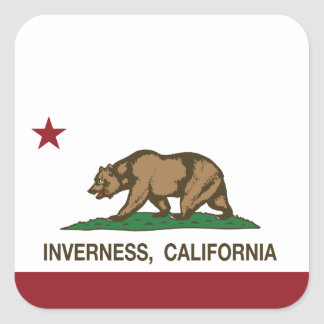 California Republic Flag Inverness Square Sticker