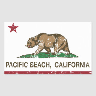 California REpublic Flag Pacific Beach Rectangular Sticker