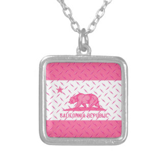 California Republic Flag Pink Diamondplate Light Silver Plated Necklace