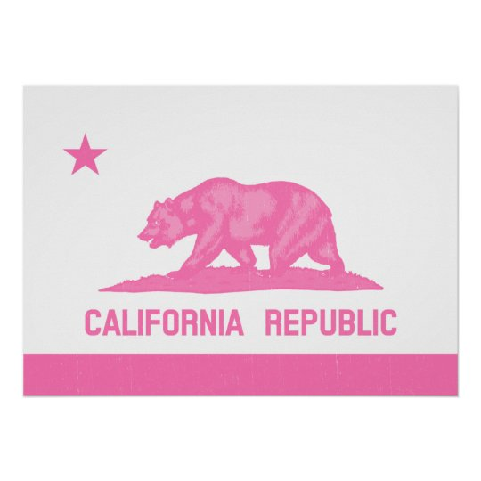 California Republic Flag (Pink) Poster