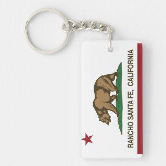 California Republic Flag Rancho Santa Fe Double-Sided Rectangular Acrylic Key Ring