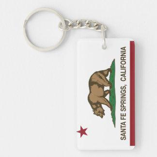 California Republic Flag Santa Fe Springs Double-Sided Rectangular Acrylic Keychain