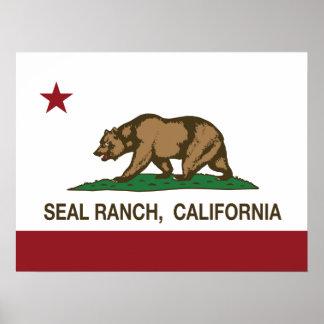 California Republic Flag Seal Ranch Posters