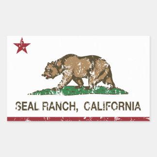 California Republic Flag Seal Ranch Rectangular Stickers