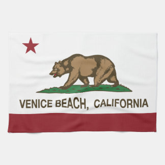California Republic Flag Venice Beach Tea Towel