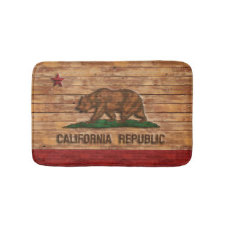 California Republic Flag Vintage Wood Design Bath Mats