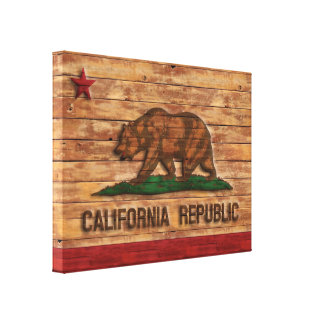 California Republic Flag Vintage Wood Design Gallery Wrap Canvas