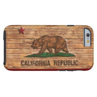 California Republic Flag Vintage Wood Design Tough iPhone 6 Case