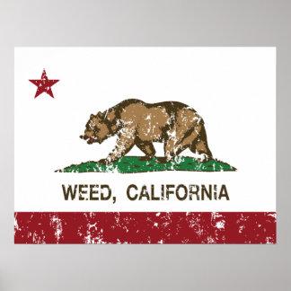 California Republic Flag Weed Print