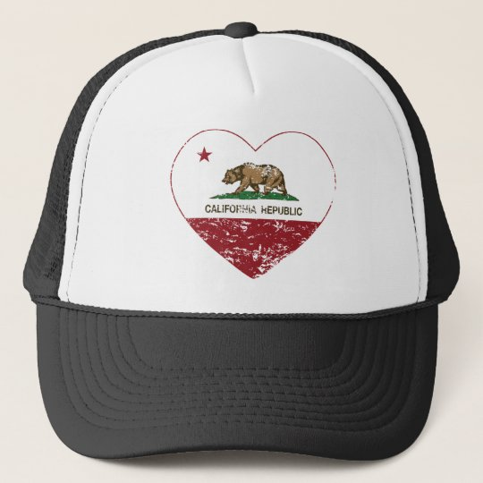 California Republic Heart Distressed Trucker Hat